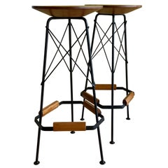 Pair of Midcentury Bar Stools or Plant Stands or Pedestals, Black Metal and Wood