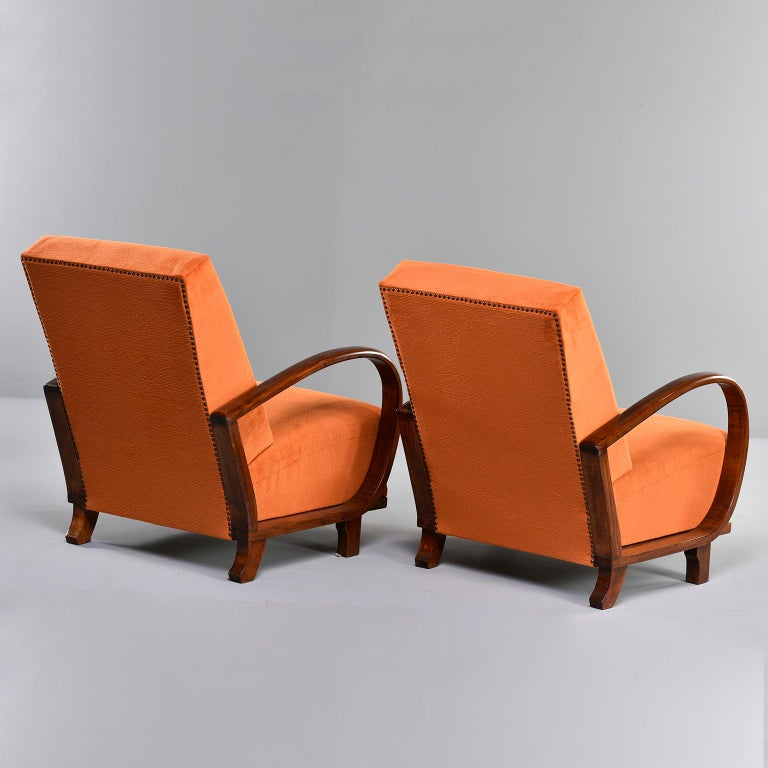 Mid-Century Modern Pair of Midcentury Italian Chairs with Walnut Arms & Pumpkin Chenille Upholstery For Sale