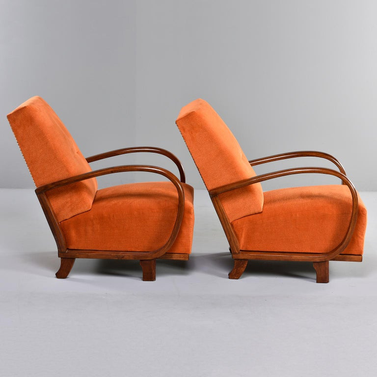 Pair of Midcentury Italian Chairs with Walnut Arms & Pumpkin Chenille Upholstery In Good Condition For Sale In Troy, MI