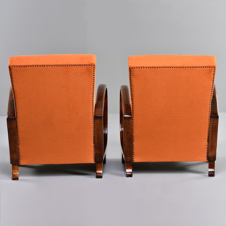 20th Century Pair of Midcentury Italian Chairs with Walnut Arms & Pumpkin Chenille Upholstery For Sale