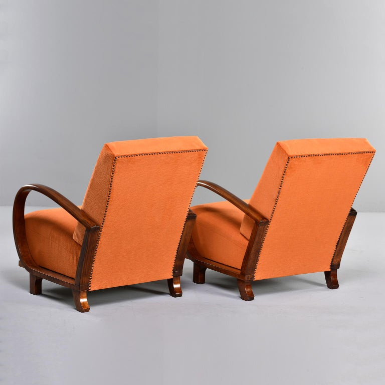 Brass Pair of Midcentury Italian Chairs with Walnut Arms & Pumpkin Chenille Upholstery For Sale