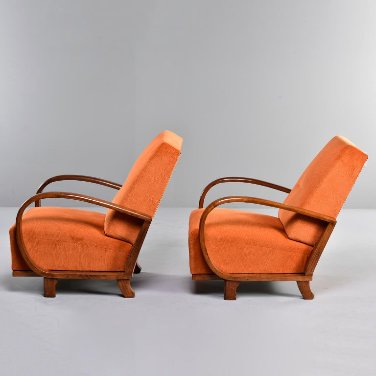 Pair of Midcentury Italian Chairs with Walnut Arms & Pumpkin Chenille Upholstery For Sale 1