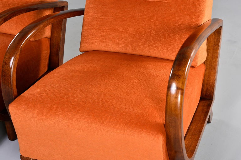 Pair of Midcentury Italian Chairs with Walnut Arms & Pumpkin Chenille Upholstery For Sale 2