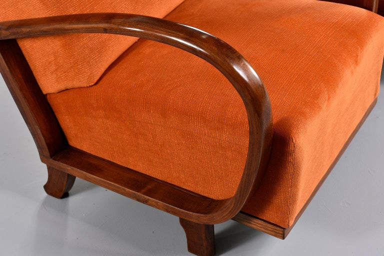 Pair of Midcentury Italian Chairs with Walnut Arms & Pumpkin Chenille Upholstery For Sale 3