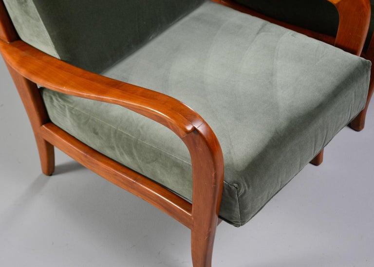 Pair of Midcentury Italian Cherrywood Chairs with Green Velvetc 4