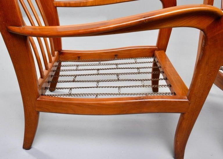 Pair of Midcentury Italian Cherrywood Chairs with Green Velvetc 6
