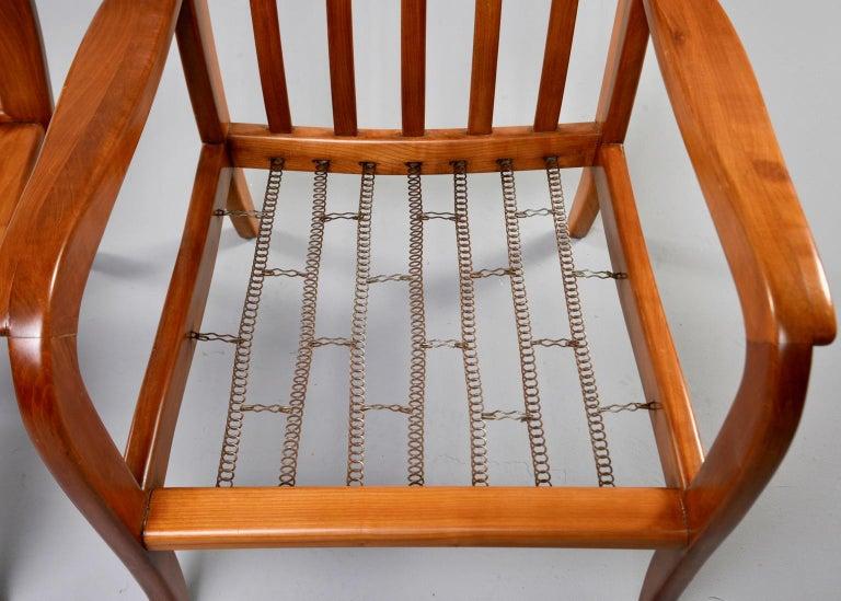 Pair of Midcentury Italian Cherrywood Chairs with Green Velvetc 7