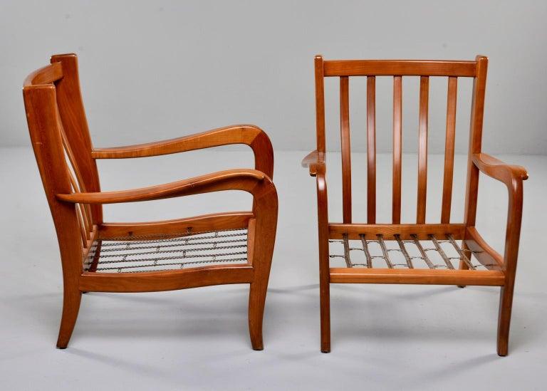 Pair of Midcentury Italian Cherrywood Chairs with Green Velvetc 8