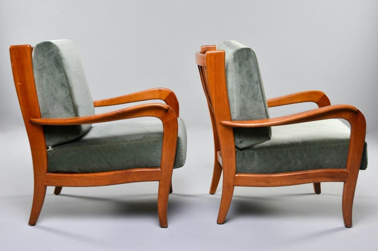 Mid-Century Modern Pair of Midcentury Italian Cherrywood Chairs with Green Velvetc