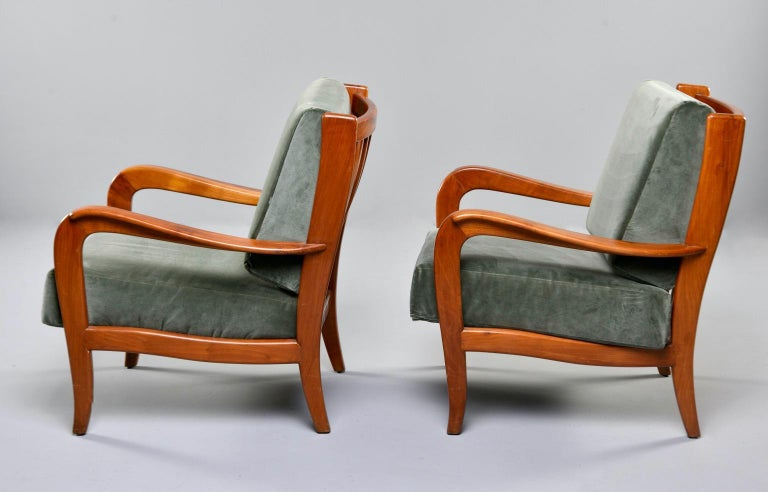 Pair of Midcentury Italian Cherrywood Chairs with Green Velvetc In Good Condition In Troy, MI