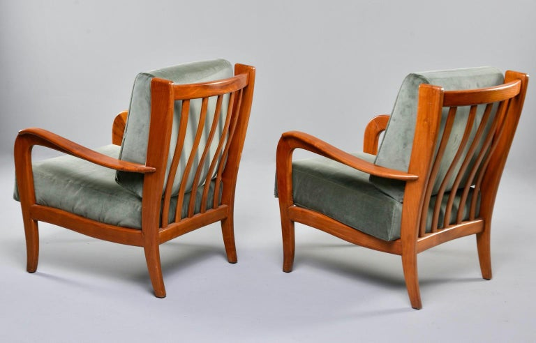 20th Century Pair of Midcentury Italian Cherrywood Chairs with Green Velvetc