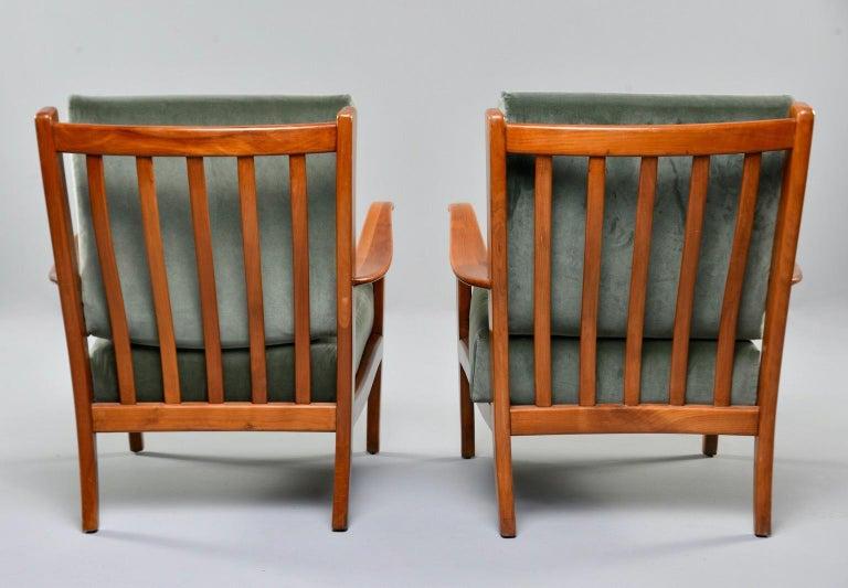 Upholstery Pair of Midcentury Italian Cherrywood Chairs with Green Velvetc