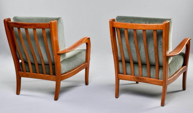 Pair of Midcentury Italian Cherrywood Chairs with Green Velvetc 1