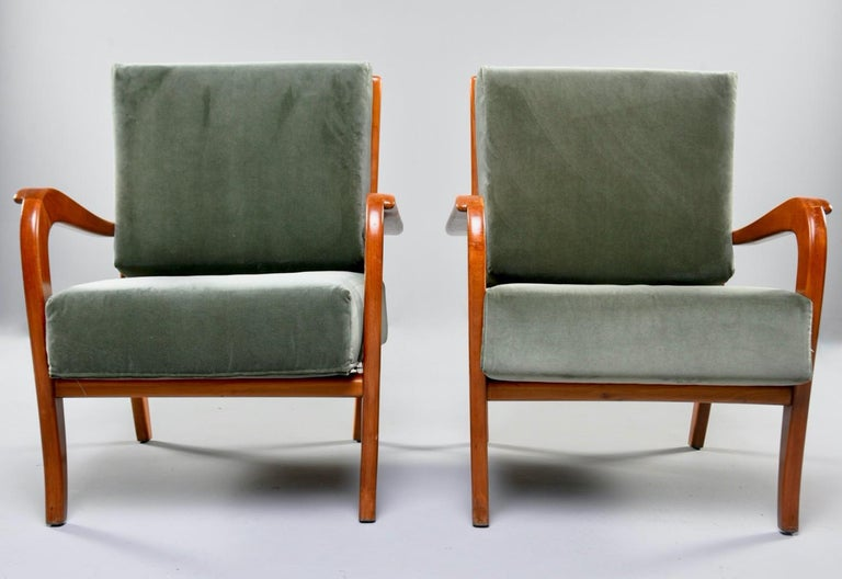 Pair of Midcentury Italian Cherrywood Chairs with Green Velvetc 2