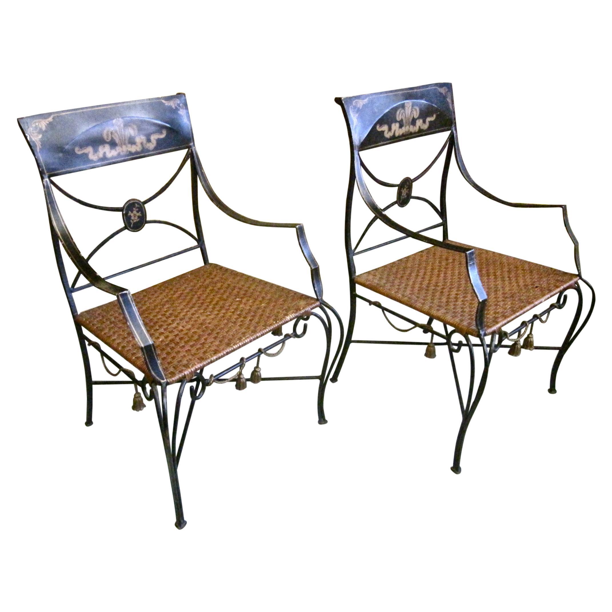 Pair of Midcentury Italian Iron Chairs Attributed to Tomaso Bruzzi
