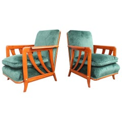 Pair of Midcentury Italian Paolo Buffa Armchairs Cherry Velvet Green, 1950s