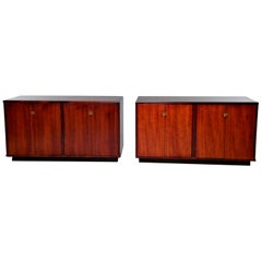 Pair of Midcentury Italian Rosewood Cabinets With Ebony Detailing