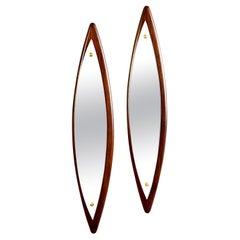 Pair Mid Century Italian Slender Walnut Framed Mirrors