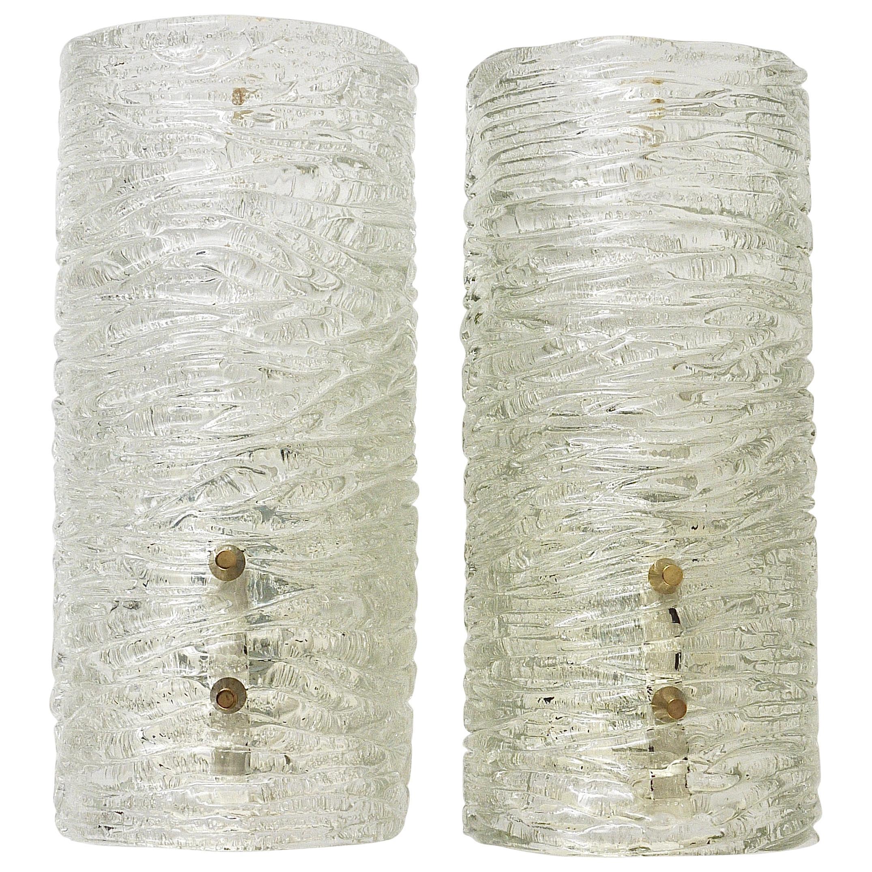Pair of Midcentury Kalmar Brass Textured Glass Sconces Wall Lamps, Austria 1950s