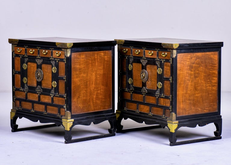 Pair of Midcentury Korean Wood and Brass Side Cabinets In Good Condition In Troy, MI