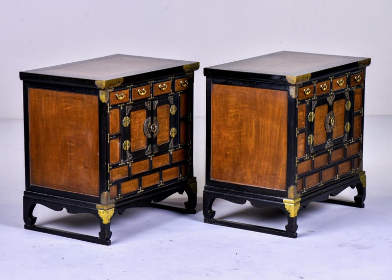 20th Century Pair of Midcentury Korean Wood and Brass Side Cabinets