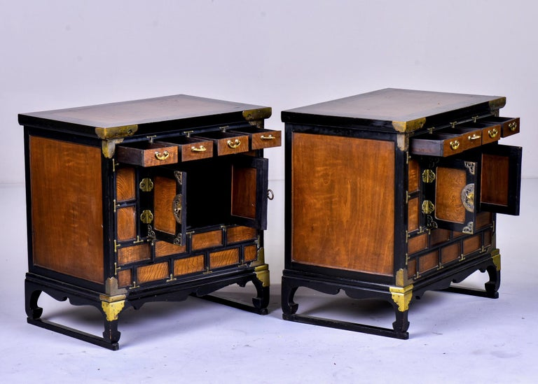 Pair of Midcentury Korean Wood and Brass Side Cabinets 1