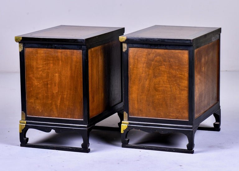 Pair of Midcentury Korean Wood and Brass Side Cabinets 2