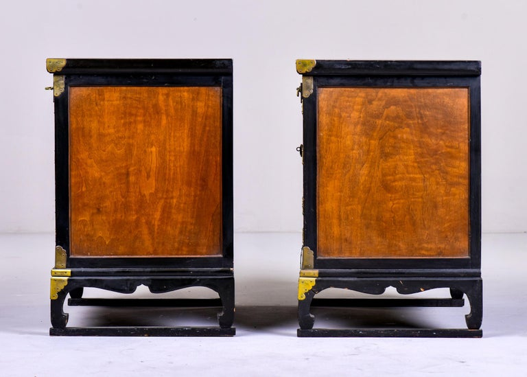 Pair of Midcentury Korean Wood and Brass Side Cabinets 3