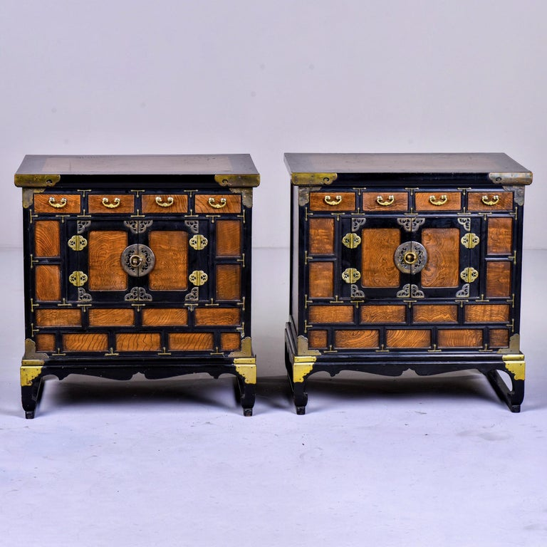 Pair of Midcentury Korean Wood and Brass Side Cabinets 5