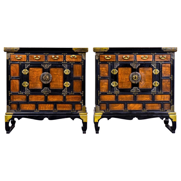 Pair of Midcentury Korean Wood and Brass Side Cabinets