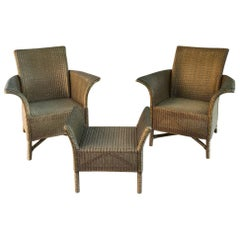 Pair of Midcentury Lloyd Loom Armchairs with Armbench-Footstool