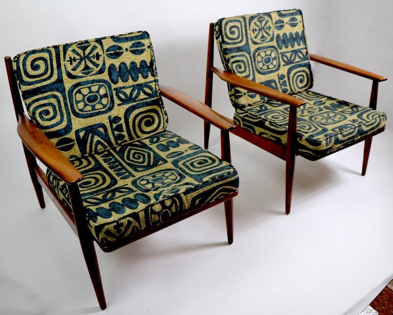 American Pair of Mid Century  Lounge Chairs by Baumritter For Sale