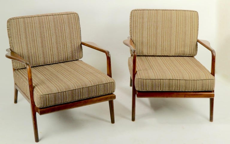 Pair of Mid Century Lounge Chairs by Mel Simlow For Sale 10
