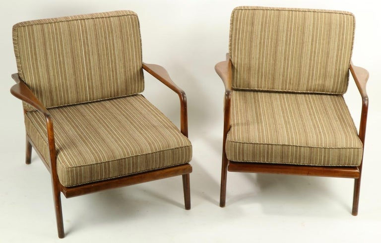 Pair of Mid Century Lounge Chairs by Mel Simlow For Sale 11