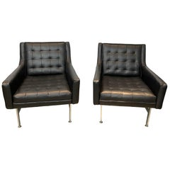 Midcentury Lounge Chairs-Chrome Base-Newly Upholstered in Italian Leather, Pair