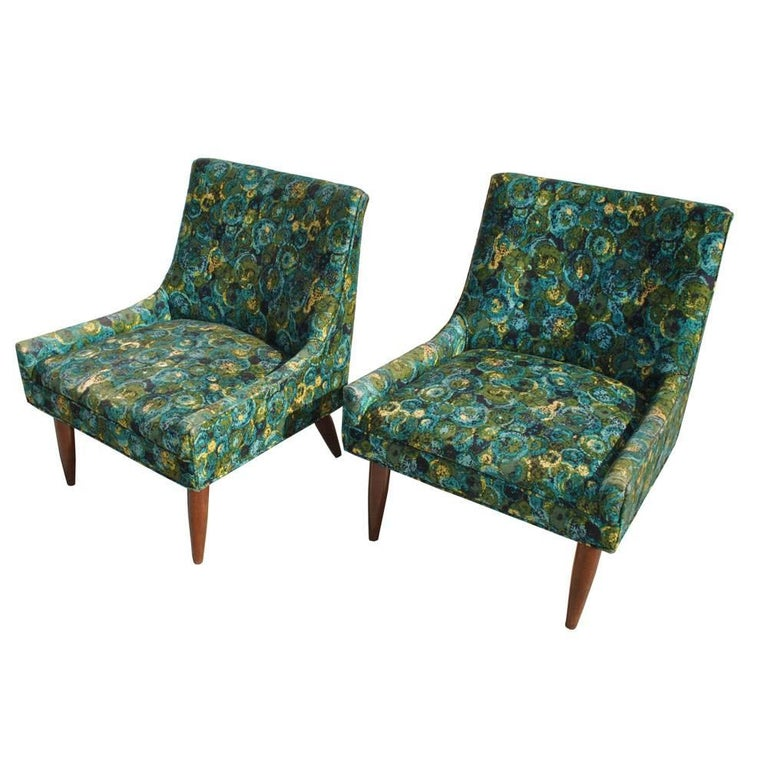 Pair of midcentury Milo Baughman Probber style slipper lounge chairs 