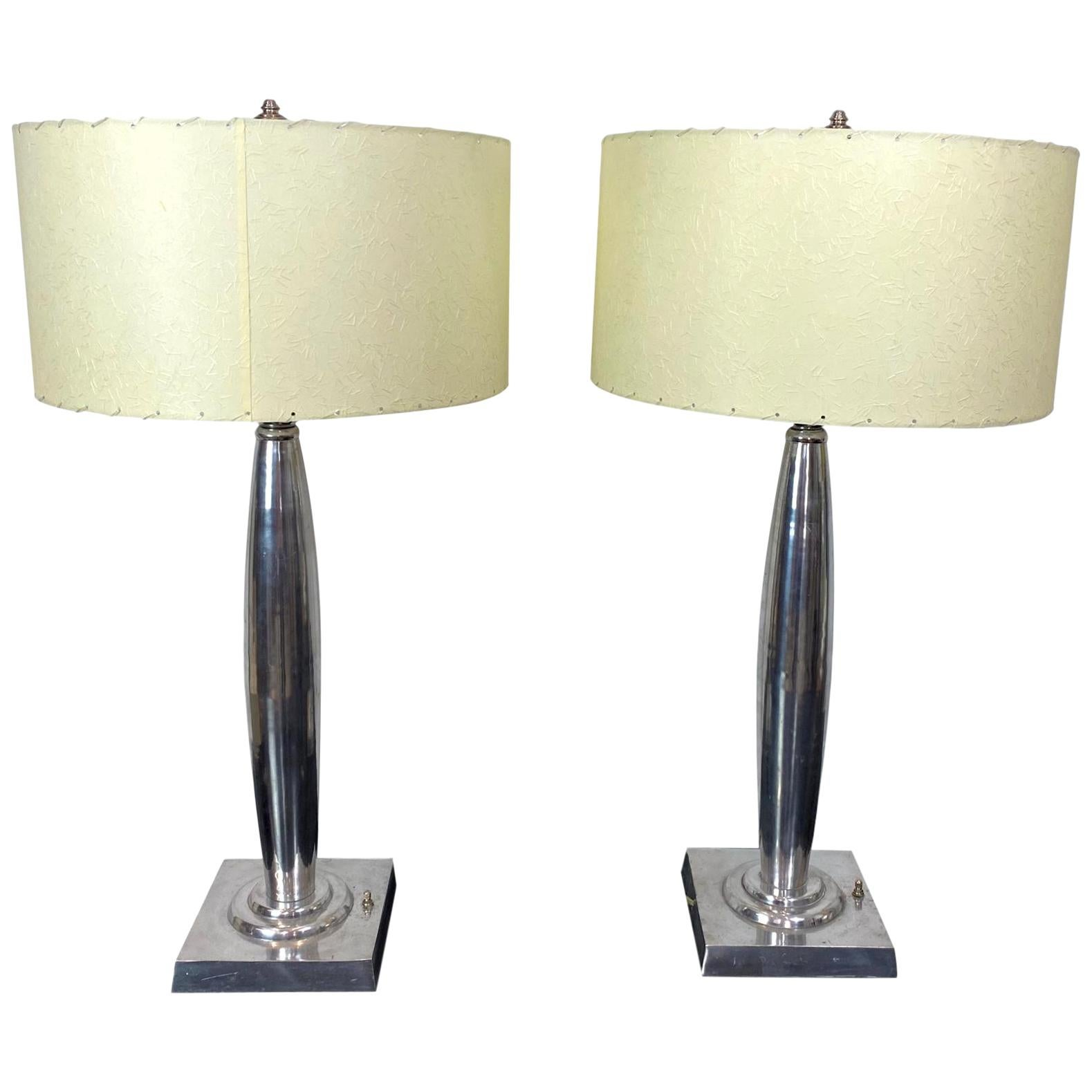 Pair Mid-Century Modern Aluminum Table Lamps with New Custom Laced Shades French