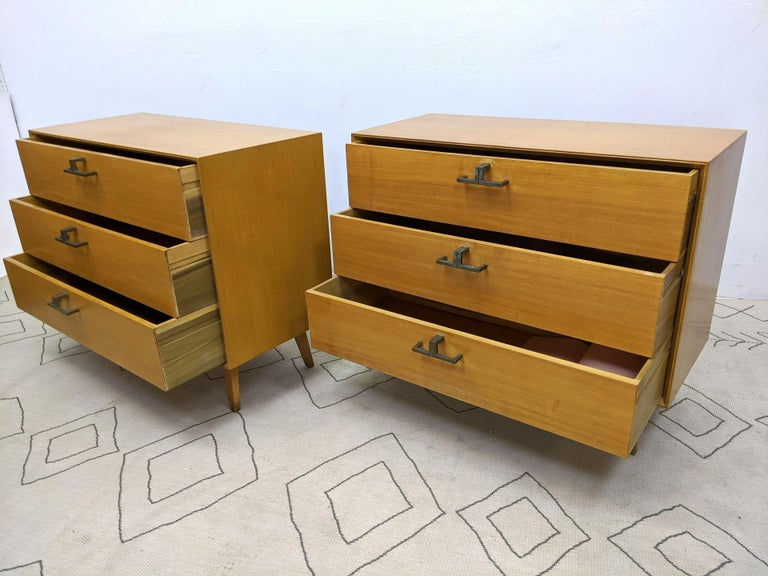 Brass Pair of Mid-Century Modern Bachelor Chest, Commodes or Dressers
