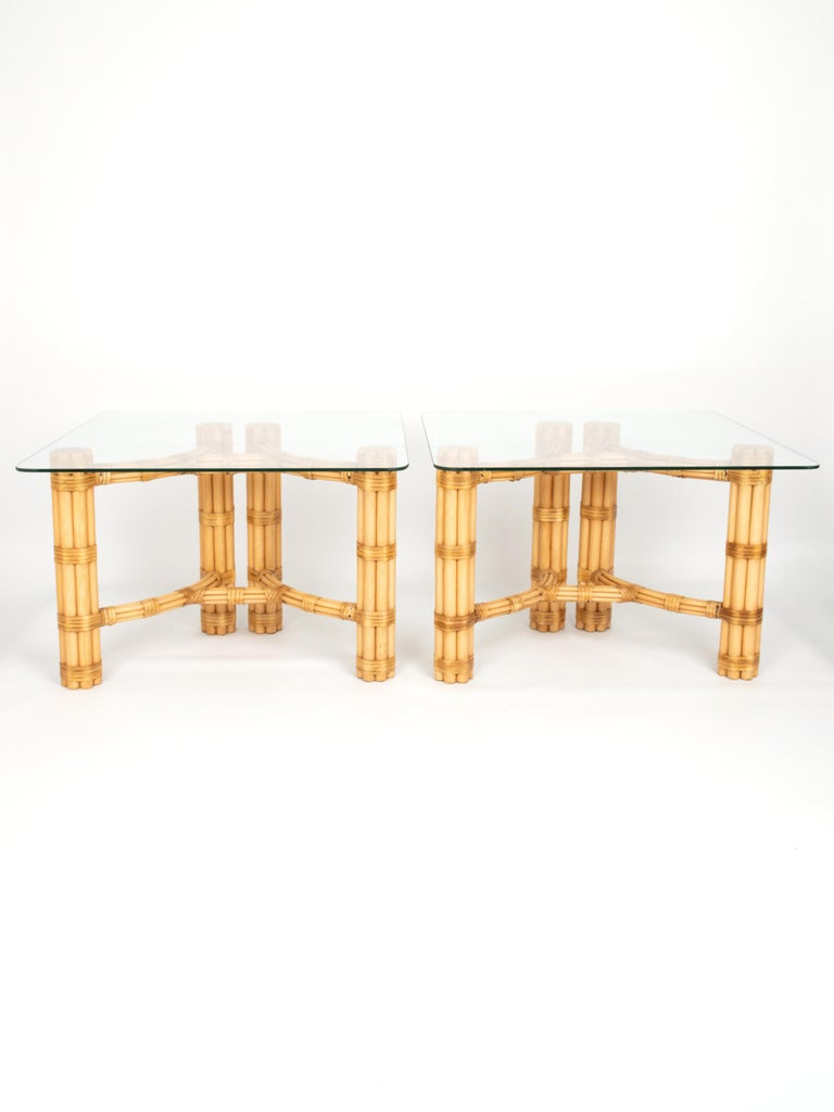 A pair of Mid-Century Modern Italian bamboo and glass end tables by Dal Vera C.1960. In excellent condition.