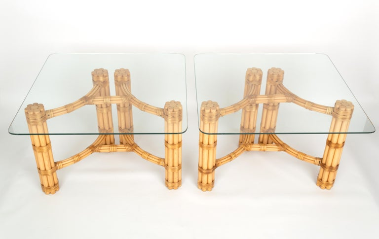 Italian Pair Mid-Century Modern Bamboo and Glass Side End Tables, Dal Vera C.1960, Italy For Sale