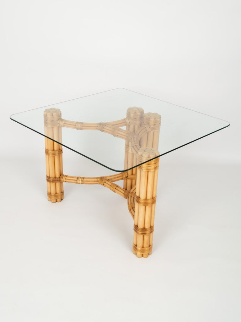 Pair Mid-Century Modern Bamboo and Glass Side End Tables, Dal Vera C.1960, Italy In Good Condition For Sale In London, GB