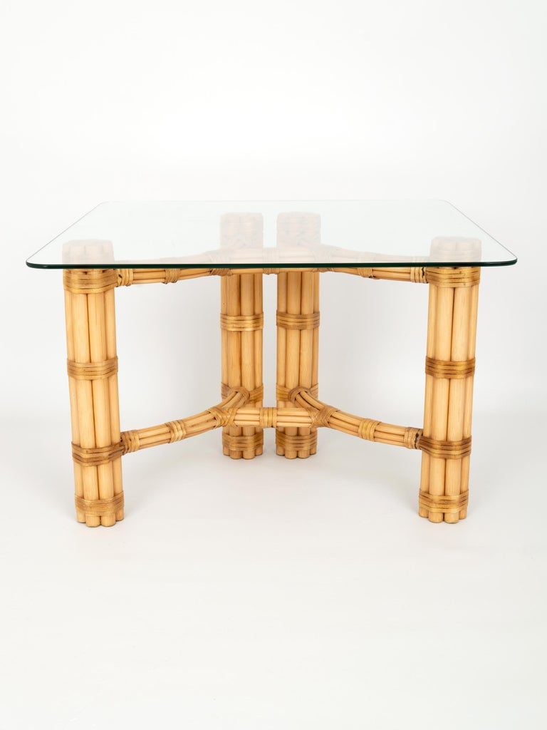 20th Century Pair Mid-Century Modern Bamboo and Glass Side End Tables, Dal Vera C.1960, Italy For Sale