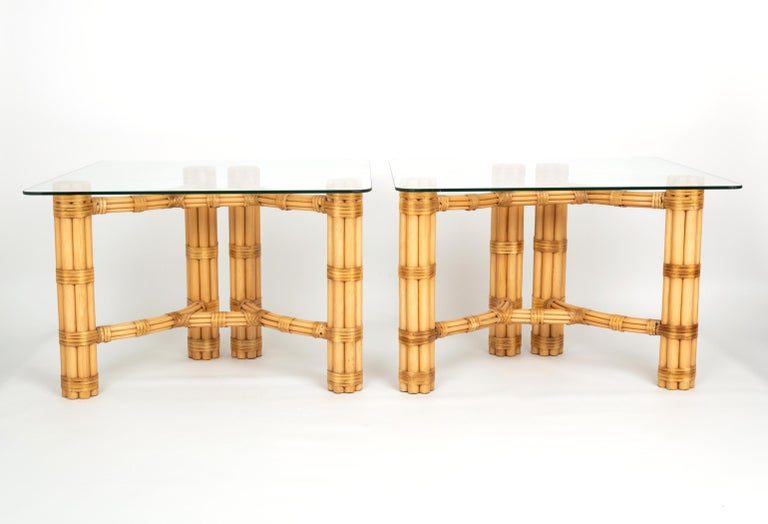 Pair Mid-Century Modern Bamboo and Glass Side End Tables, Dal Vera C.1960, Italy For Sale 1