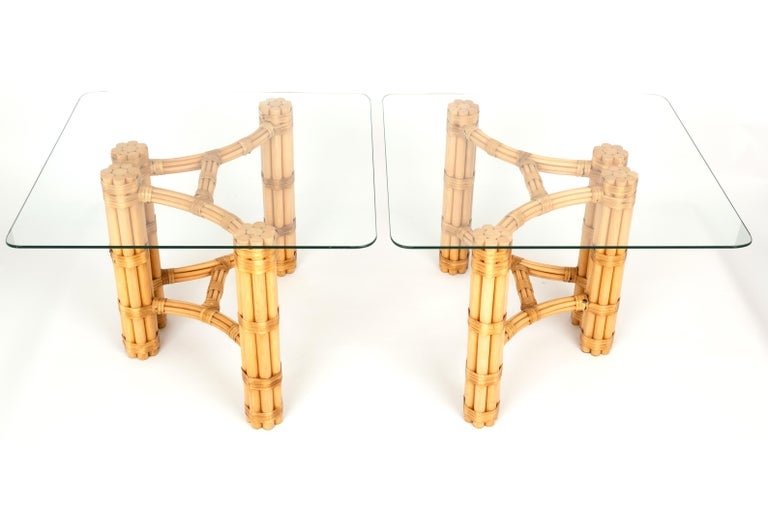Pair Mid-Century Modern Bamboo and Glass Side End Tables, Dal Vera C.1960, Italy For Sale 4