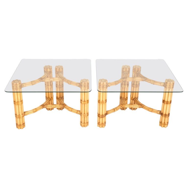 Pair Mid-Century Modern Bamboo and Glass Side End Tables, Dal Vera C.1960, Italy For Sale
