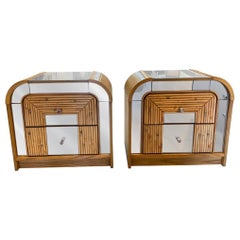 Pair of Mid-Century Modern Bamboo Chrome and Glass Nightstands End Tables Side