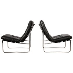 Pair of Mid-Century Modern, Black Leather Spring Lounge Chairs by Ingmar Relling