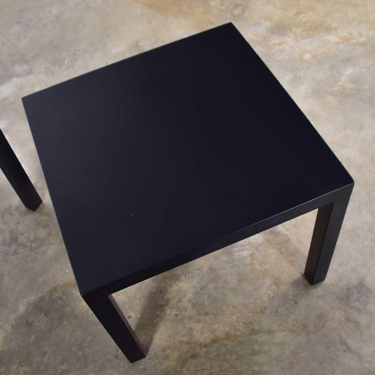 Mid-Century Modern Black Painted Parsons Side Tables 1 Square 1 Rectangle, Pair For Sale 4