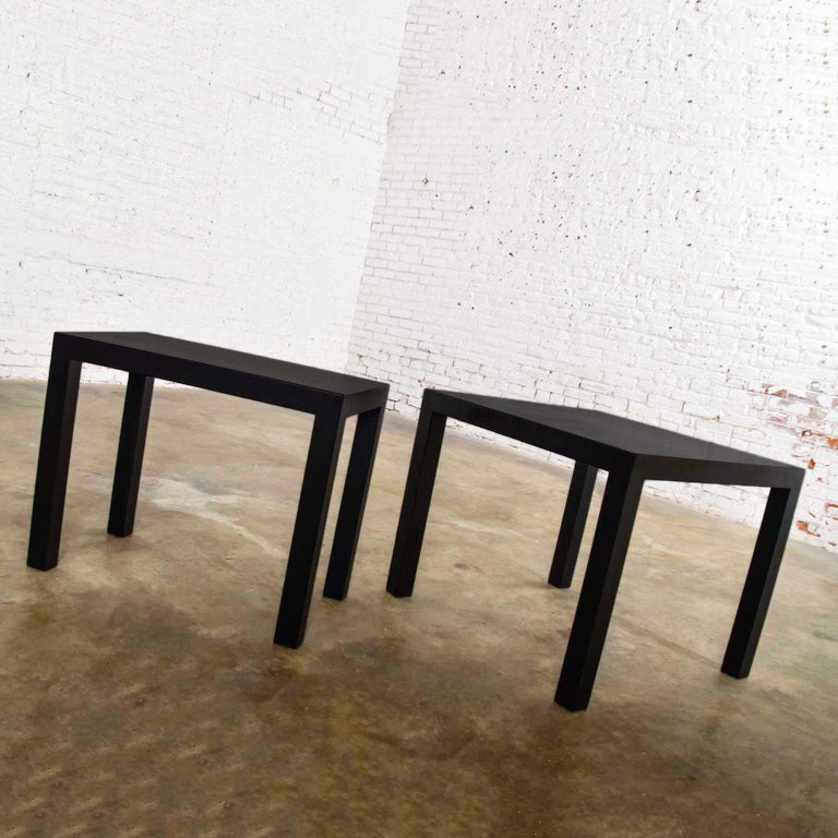 Mid-Century Modern Black Painted Parsons Side Tables 1 Square 1 Rectangle, Pair For Sale 5