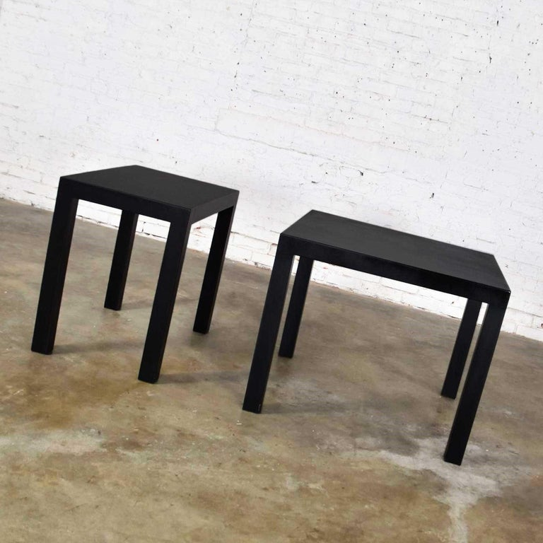 Mid-Century Modern Black Painted Parsons Side Tables 1 Square 1 Rectangle, Pair For Sale 6